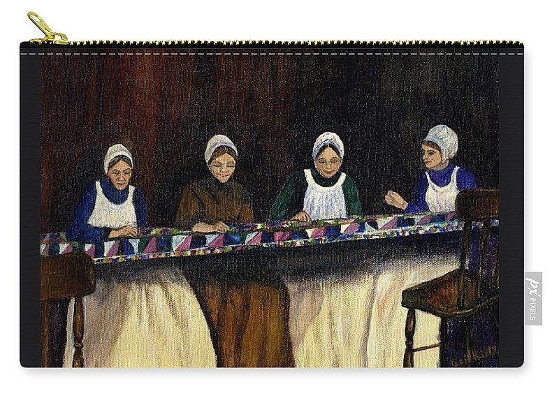 Women Carry-all Pouch featuring the painting Quilting by Gail Kirtz