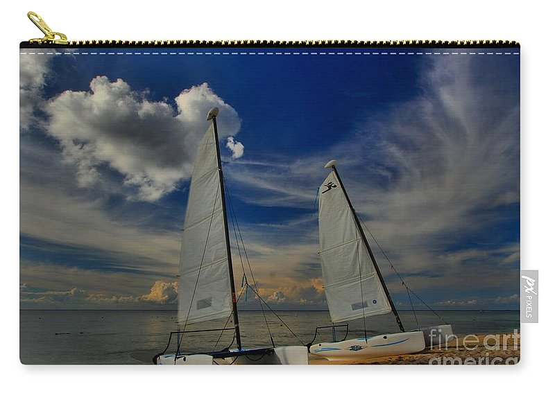 Caribbean Ocean Carry-all Pouch featuring the photograph Quintana Roo Hobie Cats by Adam Jewell
