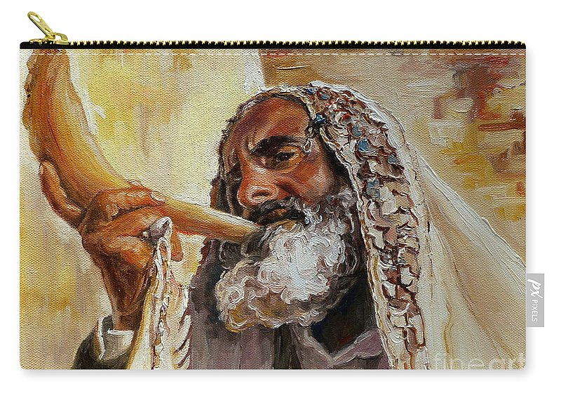Rabbi Carry-all Pouch featuring the painting Rabbi Blowing Shofar by Carole Spandau