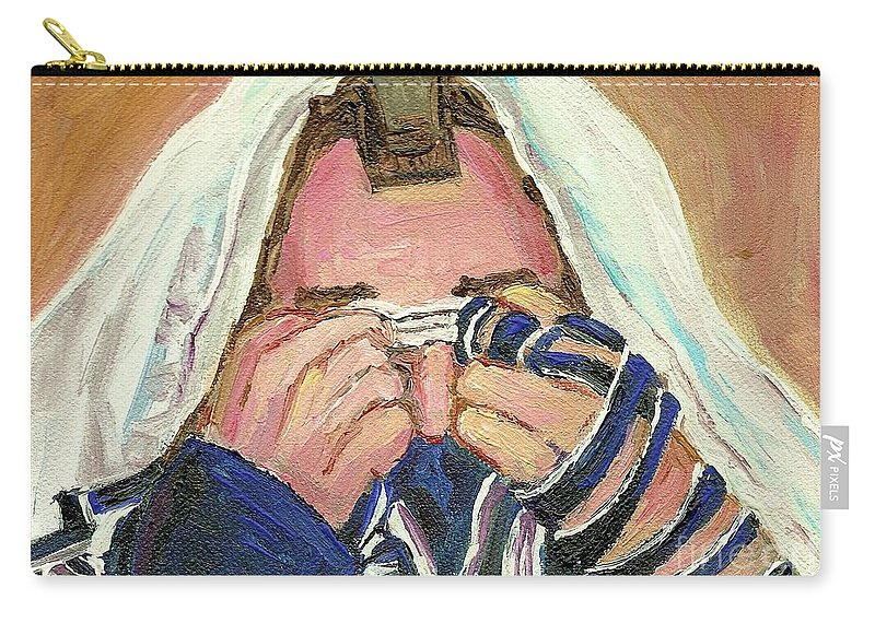 Rabbi Davening Carry-all Pouch featuring the painting Rabbi's Prayer For The Sabbath by Carole Spandau