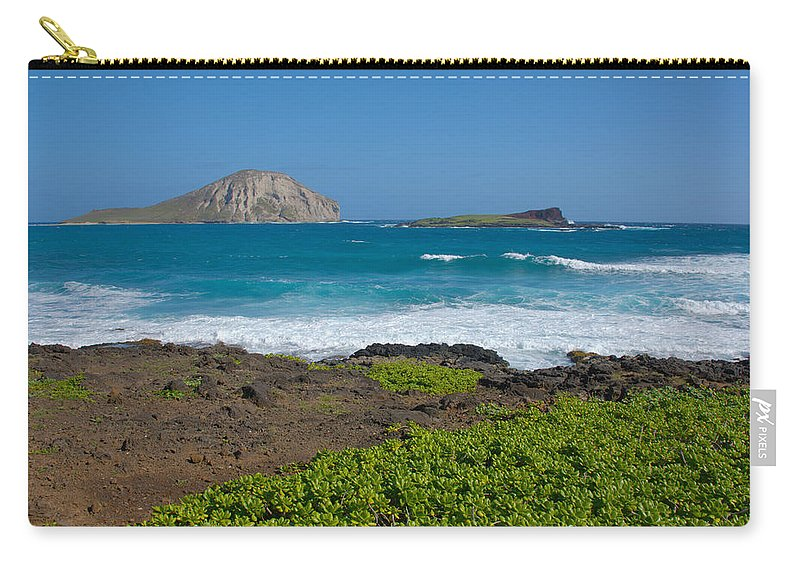 Rabbit Island Manana Kaohikaipu Makapuu Beach Crashing Wave Oahu Hawaii Seascape Carry-all Pouch featuring the photograph Rabbit Island by Brian Harig