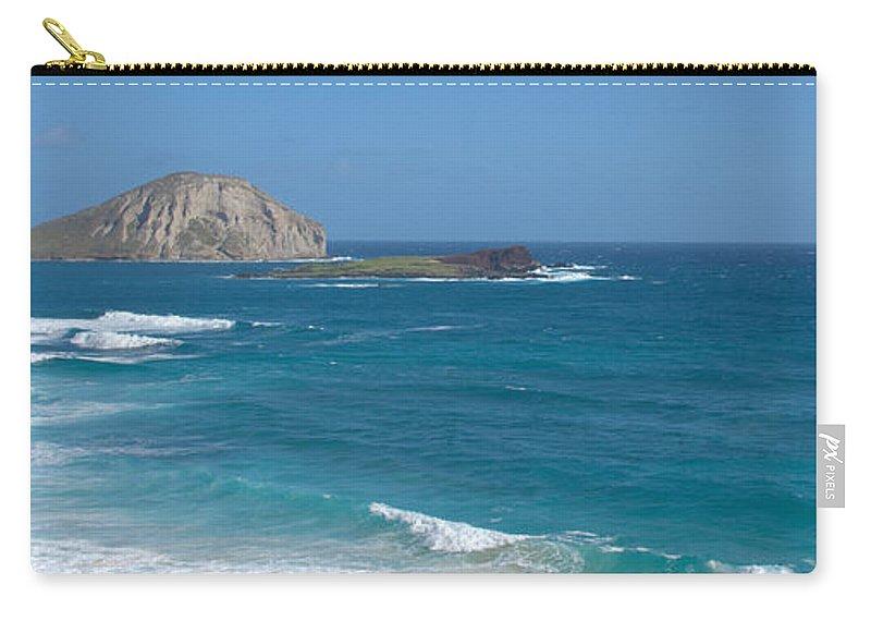 Rabbit Island Manana Kaohikaipu Makapuu Beach Crashing Wave Oahu Hawaii Seascape Carry-all Pouch featuring the photograph Rabbit Island Panorama by Brian Harig