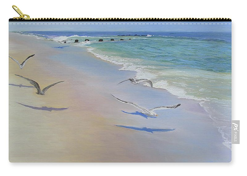 Seascape Carry-all Pouch featuring the painting Racing Seagulls by Lea Novak