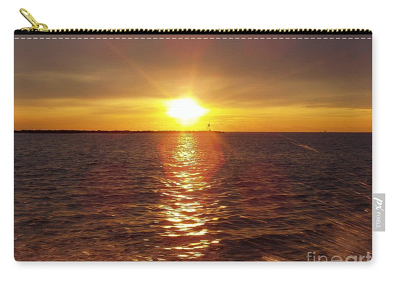 Racing To The Fish Before Sunrise Carry-all Pouch featuring the photograph Racing To The Fish Before Sunrise by John Telfer