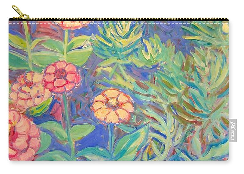 Flowers Carry-all Pouch featuring the painting Radford Library Butterfly Garden by Kendall Kessler