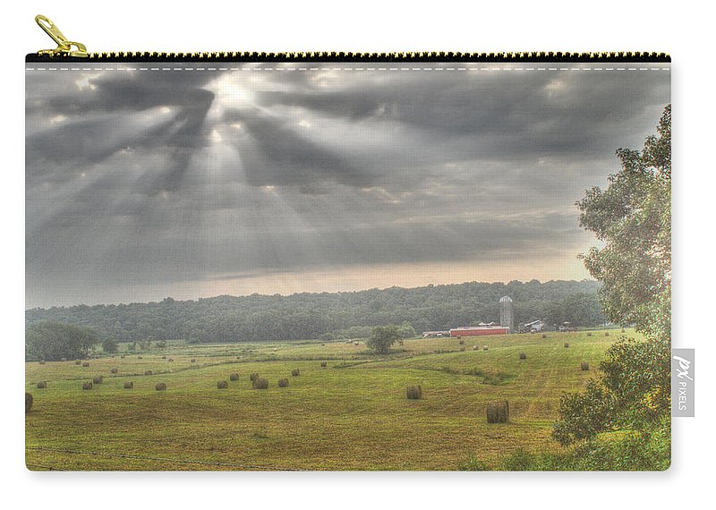 Radiant Carry-all Pouch featuring the photograph Radiant Light Over The Farm by Douglas Barnett
