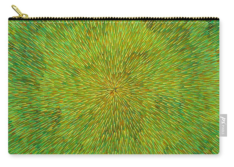 Abstract Carry-all Pouch featuring the painting Radiation with Green Yellow and Orange by Dean Triolo