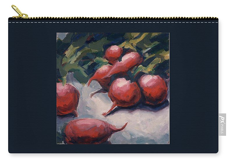 Radishes Carry-all Pouch featuring the painting Radishes by Konnie Kim