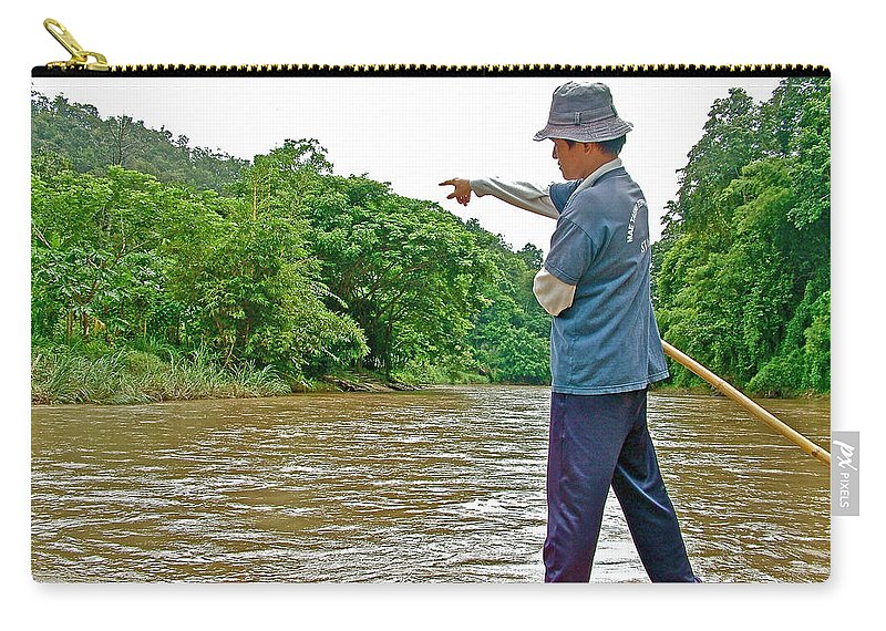 Rafting Guide On The Mae Taeng River Near Chiang Mai Carry-all Pouch featuring the photograph Rafting Guide On Mae Thang River Near Chiang Mai-thailand by Ruth Hager