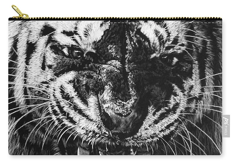 Art Carry-all Pouch featuring the drawing Rage by Barbara Keith