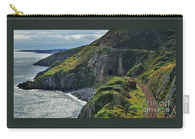 Irish Art Bray Head Scenery Ireland Seascape Landmark Outdoors Railroad Tracks Serene Travel Bray Irish Sea Mountain Vista Tunnel Canvas Print Wood Print Metal Frame Poster Print Available On T Shirts Mugs Tote Bags Pouches Shower Curtains Weekender Tote Bags Duvet Covers And Spiral Notebooks Carry-all Pouch featuring the photograph Railroad Through Bray Head, Ireland by Marcus Dagan