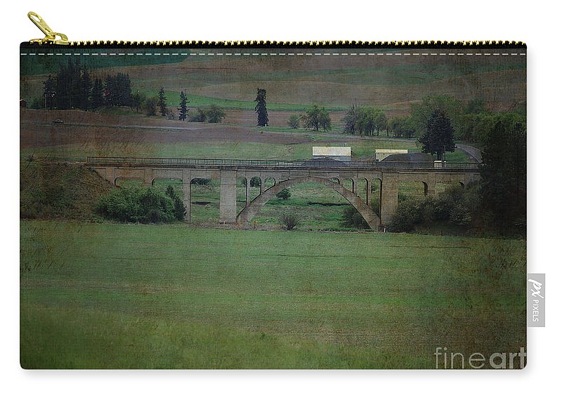Railroad Carry-all Pouch featuring the photograph Railroad Bridge At Rosalia Texture by Sharon Elliott