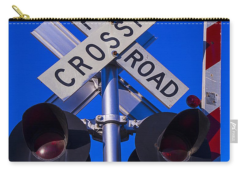 Railroad Carry-all Pouch featuring the photograph Railroad Crossing by Garry Gay