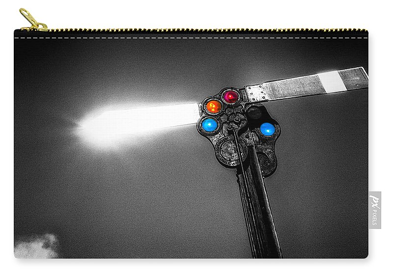 Trains Carry-all Pouch featuring the photograph Railroad Signal by Bob Orsillo