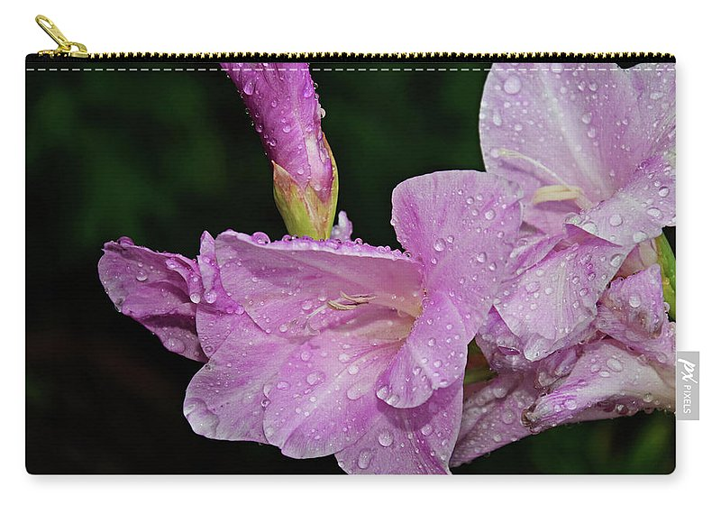 Flower Carry-all Pouch featuring the photograph Rain Flower 1 Lavender by Andee Design