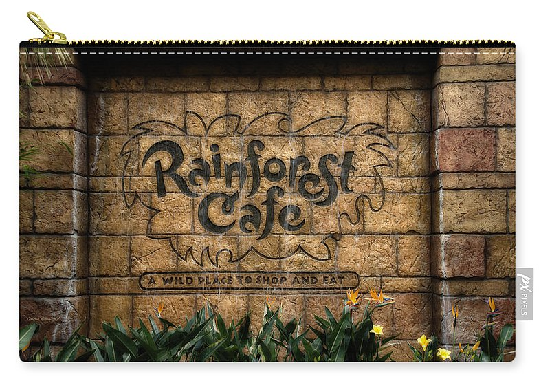 Disney Carry-all Pouch featuring the photograph Rain Forest Cafe Signage Downtown Disneyland 01 by Thomas Woolworth