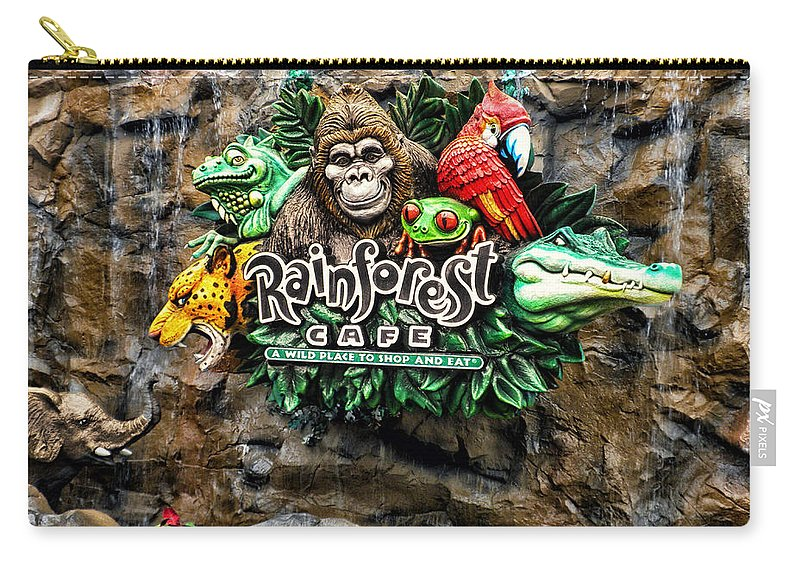 Rain Forest Cafe Carry-all Pouch featuring the photograph Rain Forest Cafe Signage Walt Disney World by Thomas Woolworth