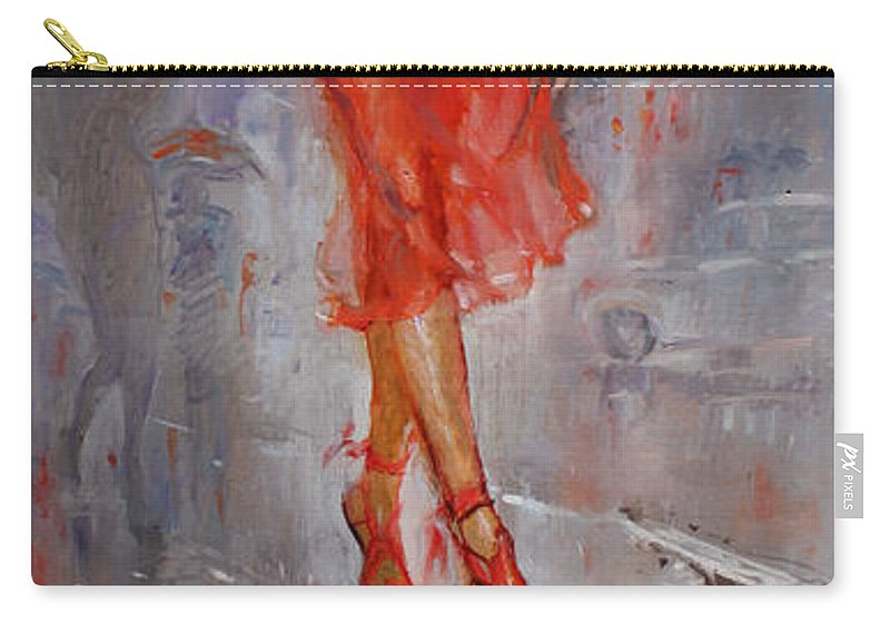Rain Carry-all Pouch featuring the painting Rain In Manhattan by Ylli Haruni