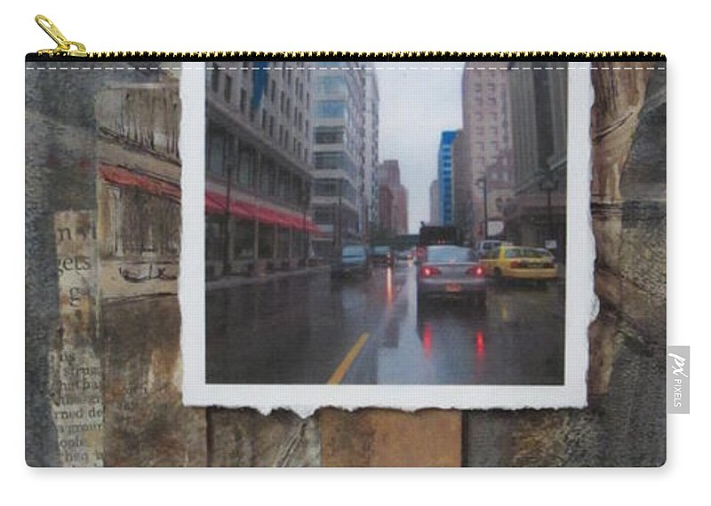 City Carry-all Pouch featuring the mixed media Rain Wisconcin Ave Tall View by Anita Burgermeister