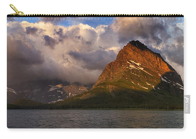 Many Glacier Hotel Carry-all Pouch featuring the photograph Rainbow At Sunrise - Panorama by Mark Kiver