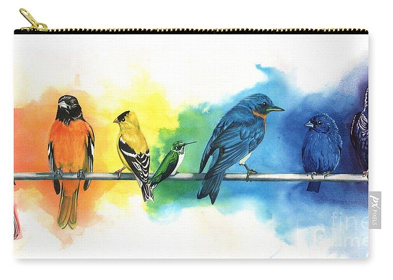 Rainbow Carry-all Pouch featuring the painting Rainbow Birds by Do'an Prajna - Antony Galbraith
