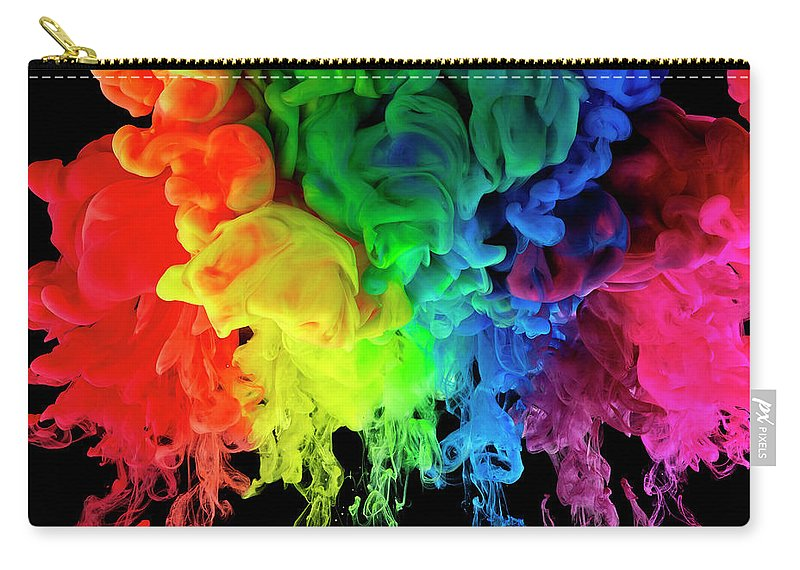 Spray Carry-all Pouch featuring the photograph Rainbow Colored Ink, Paint In Water by Mark Mawson