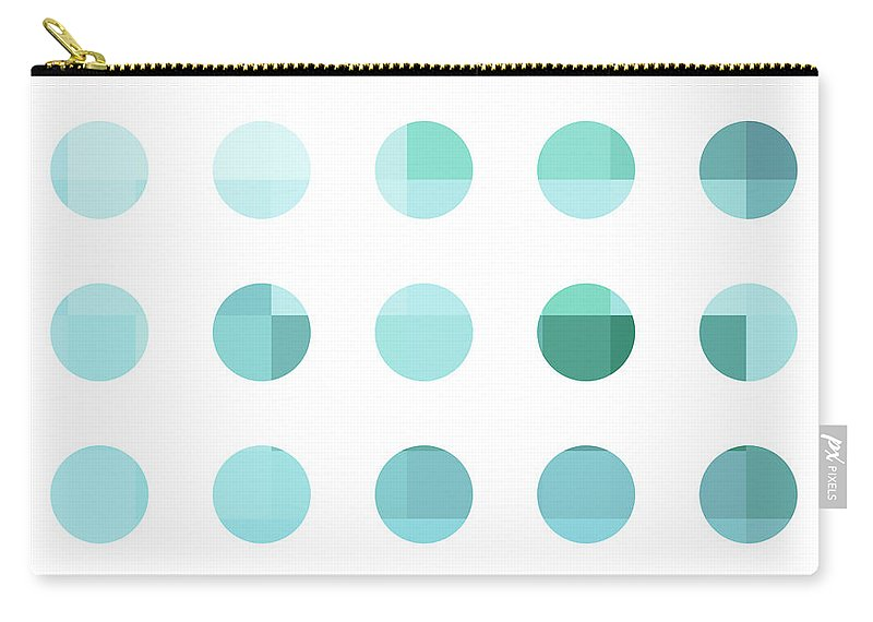 Abstract Carry-all Pouch featuring the painting Rainbow Dots Aqua by Pixel Chimp