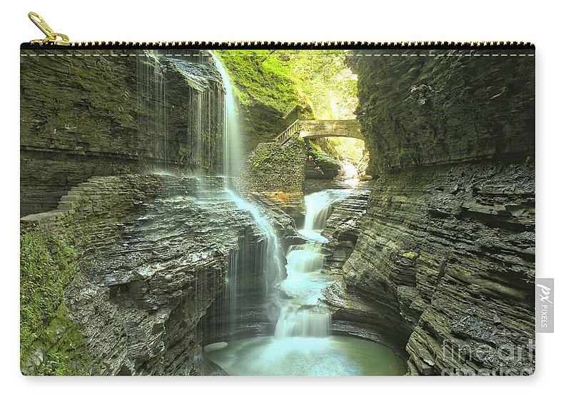 Watkins Glen State Park Carry-all Pouch featuring the photograph Rainbow Falls Bridge by Adam Jewell