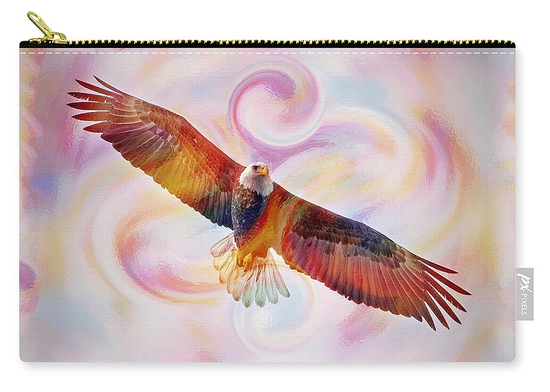 Bald Eagle Carry-all Pouch featuring the painting Rainbow Flying Eagle Watercolor Painting by Georgeta Blanaru