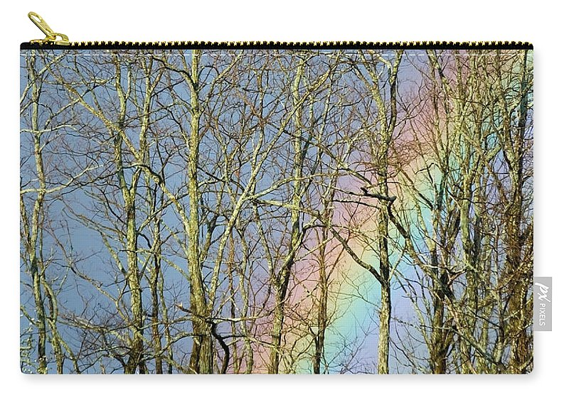 Artoffoxvox Carry-all Pouch featuring the photograph Rainbow Hiding Behind The Trees by Kristen Fox
