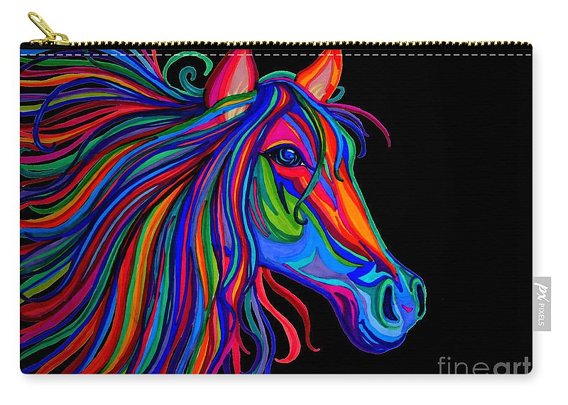 Horse Carry-all Pouch featuring the drawing Rainbow Horse Head by Nick Gustafson