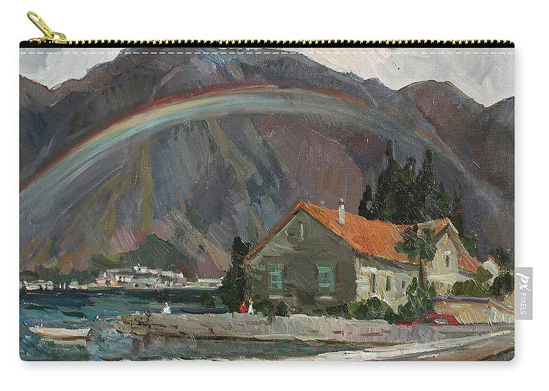 Montenegro Carry-all Pouch featuring the painting Rainbow In The Mountains by Juliya Zhukova