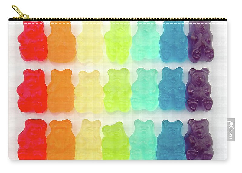 Order Carry-all Pouch featuring the photograph Rainbow Jelly Bear Candy by Melissa Ross