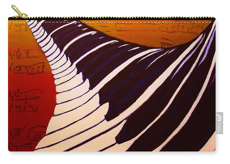Rainbow Piano Carry-all Pouch featuring the painting Rainbow Piano Keyboard Twist In Acrylic Paint With Sheet Music Notes In Blue Yellow Orange Red by M Zimmerman MendyZ
