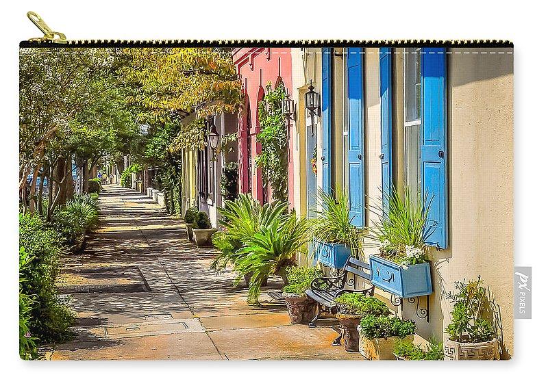 Rainbow Row Carry-all Pouch featuring the photograph Rainbow Row Sidewalk by Curtis Cabana