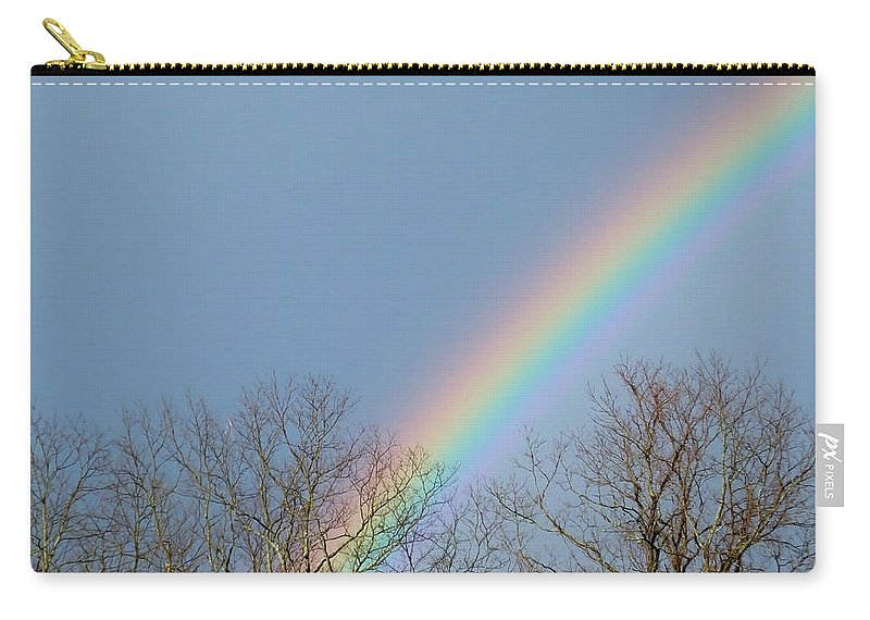 Artoffoxvox Carry-all Pouch featuring the photograph Rainbow Through The Tree Tops by Kristen Fox