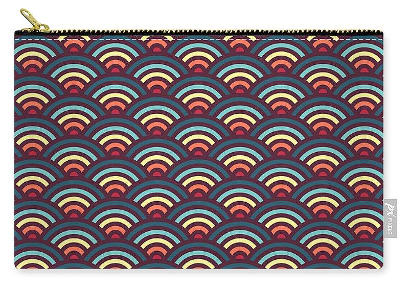 Rainbow Carry-all Pouch featuring the digital art Rainbowaves Pattern Dark by Freshinkstain