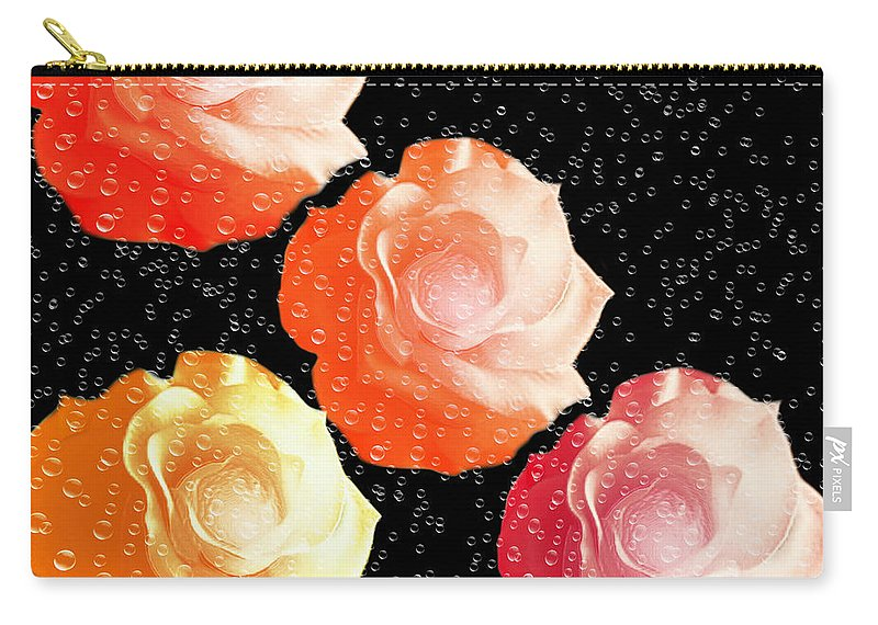 Abstract Carry-all Pouch featuring the digital art Raindrops On Roses - My Favorite Things by Andee Design