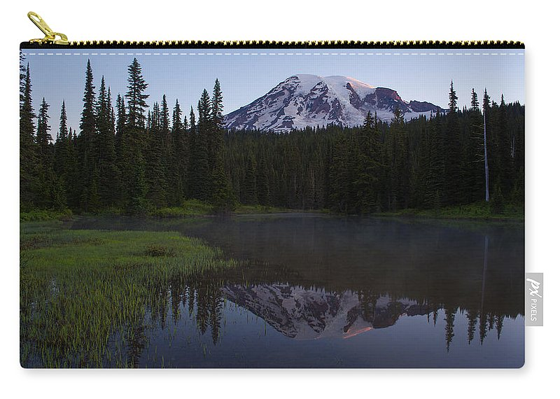 Mount Rainier Carry-all Pouch featuring the photograph Rainier Awakening by Mike Reid