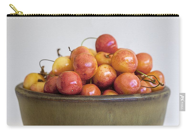 Cherries Carry-all Pouch featuring the photograph Rainier Cherries And Ceramic Bowl by Rich Franco