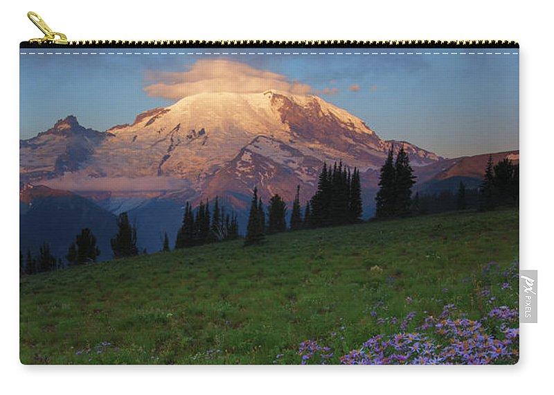 Rainier Carry-all Pouch featuring the photograph Rainier Morning Cap by Mike Dawson