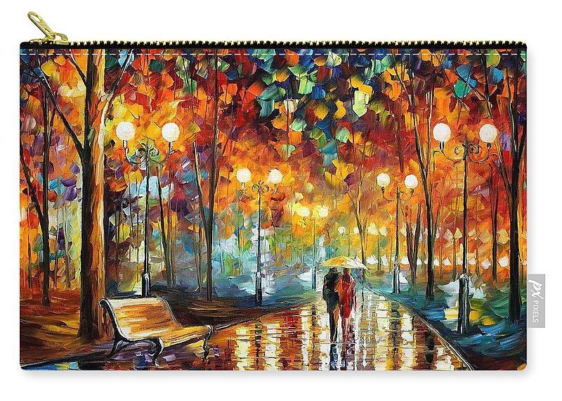 Leonid Afremov Carry-all Pouch featuring the painting Rain's Rustle 2 - PALETTE KNIFE Oil Painting On Canvas By Leonid Afremov by Leonid Afremov