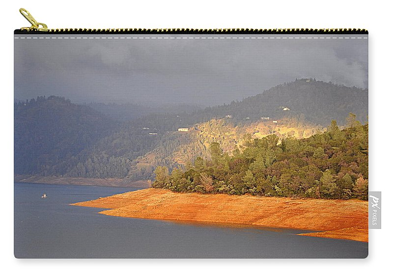 Scenic Carry-all Pouch featuring the photograph Rainstorm On The Lake by AJ Schibig