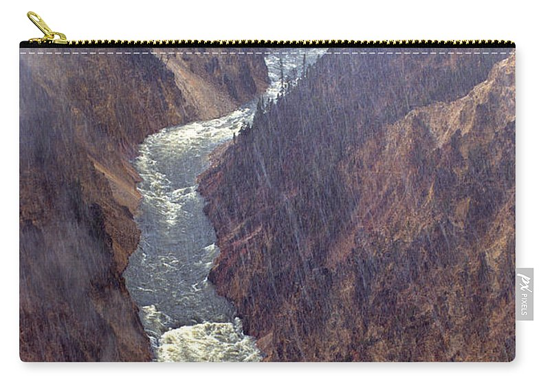 North America Carry-all Pouch featuring the photograph Rainstorm Over Grand Canyon Of The Yellowstone by Dave Welling