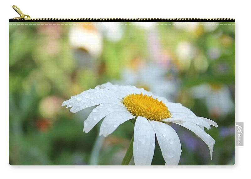 White Carry-all Pouch featuring the photograph Rainy Day Daisy by Nikki Vig