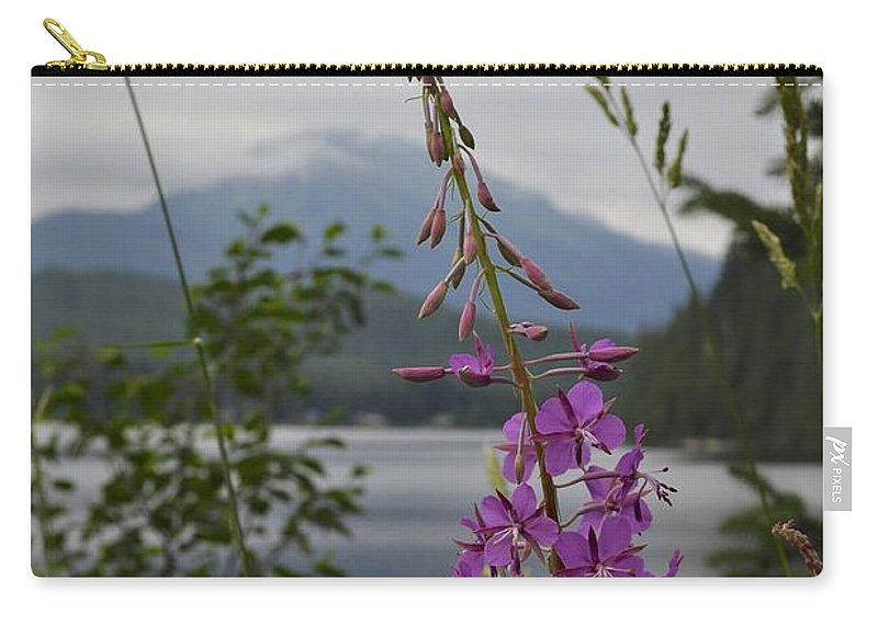 Rainy Carry-all Pouch featuring the photograph Rainy Day Fireweed by Cathy Mahnke