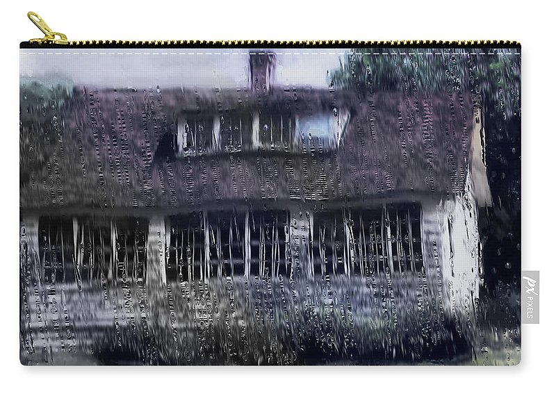 House Carry-all Pouch featuring the painting Rainy Day Long Ago House by RC DeWinter