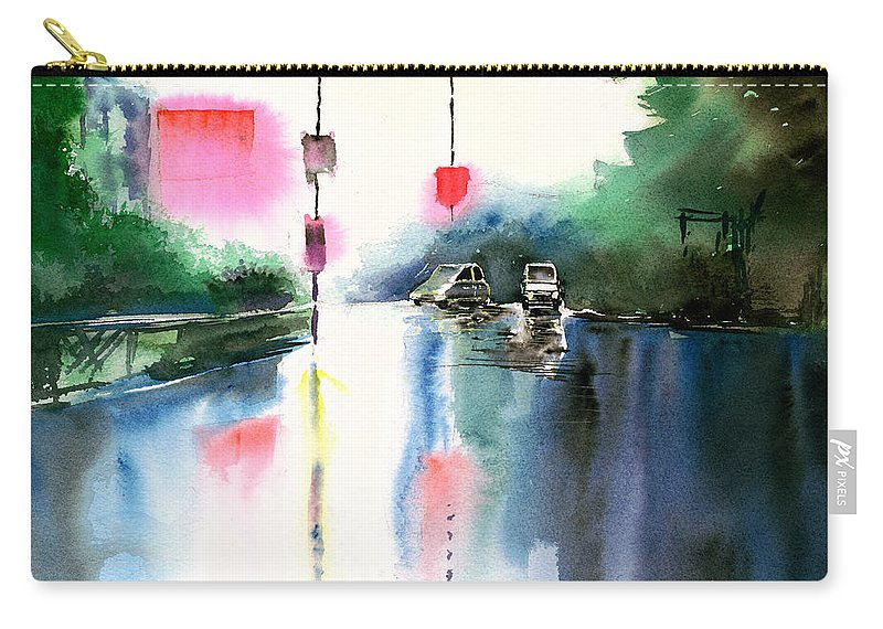 Nature Carry-all Pouch featuring the painting Rainy Day New by Anil Nene