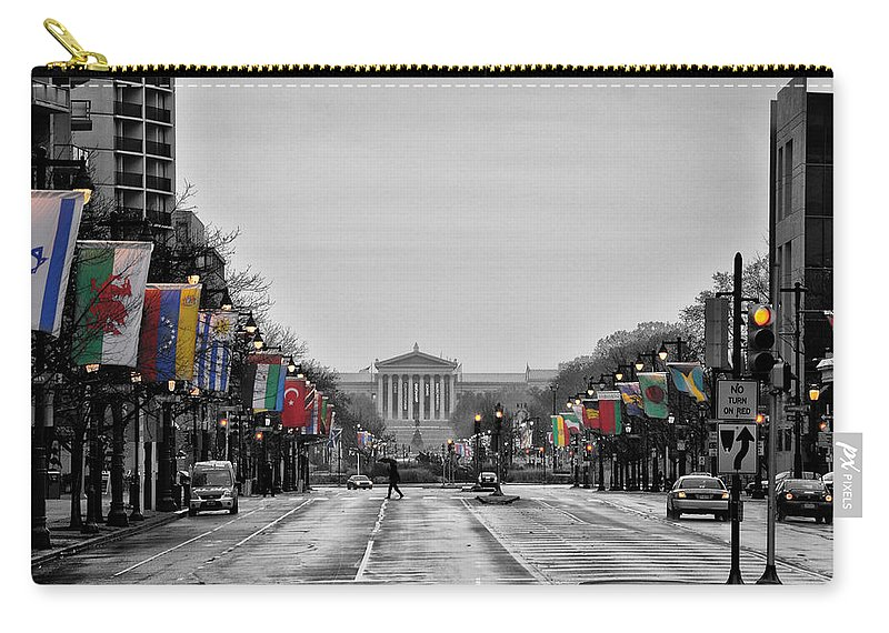 Rainy Carry-all Pouch featuring the photograph Rainy Day On The Parkway by Bill Cannon