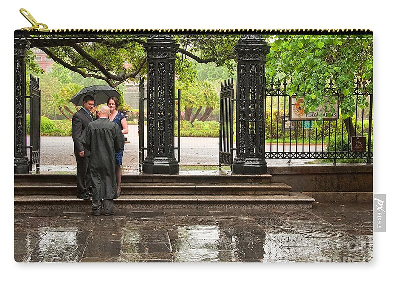 Wedding Carry-all Pouch featuring the photograph Rainy Destination Wedding In Jackson Square New Orleans by Kathleen K Parker